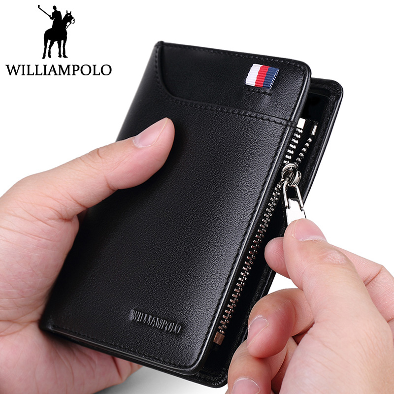 WilliamPOLO Mens Zipper Wallet Genuine Leather Short Purse Cowhide Card Holder Wallet Coin Pocket Business Wallets New Year Gift mens wallets black cowhide real genuine leather wallet bifold clutch coin short purse pouch id card dollar holder for gift
