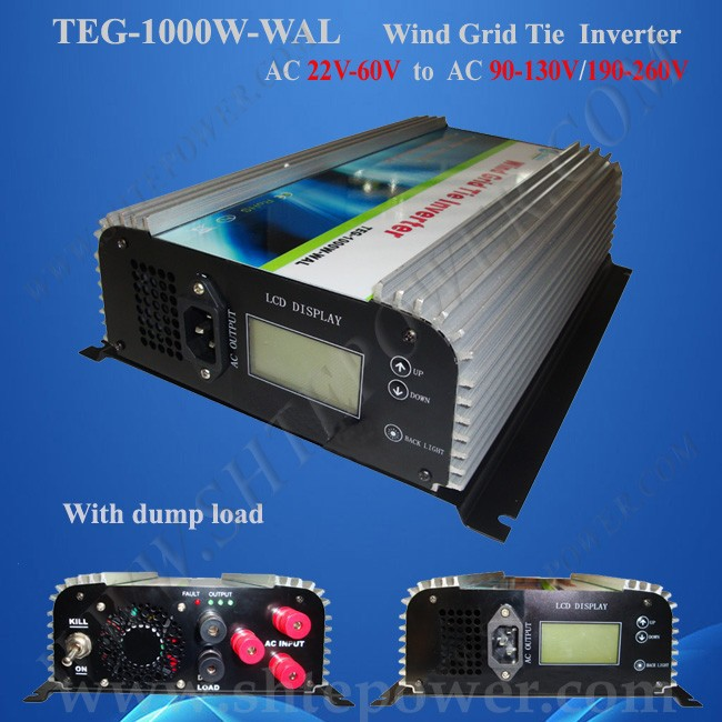 1000W on Grid Tie Power Inverter AC 22V~60V to AC 190V~260V with Dump Load Controller,for 3 Phase Wind turbine maylar 2000w wind grid tie inverter pure sine wave for 3 phase 48v ac wind turbine 90 130vac with dump load resistor