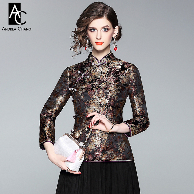 03cb4d7e639 spring autumn woman jacket coat brown beige golden floral pattern black  jacket beading buttons vintage Chinese style coat jacket