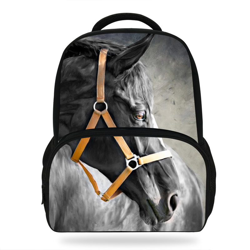 Fashion 16 Inch Hot Sale Children School Bagpack For Boys Girls Horse Print Animal Backpack For Kids