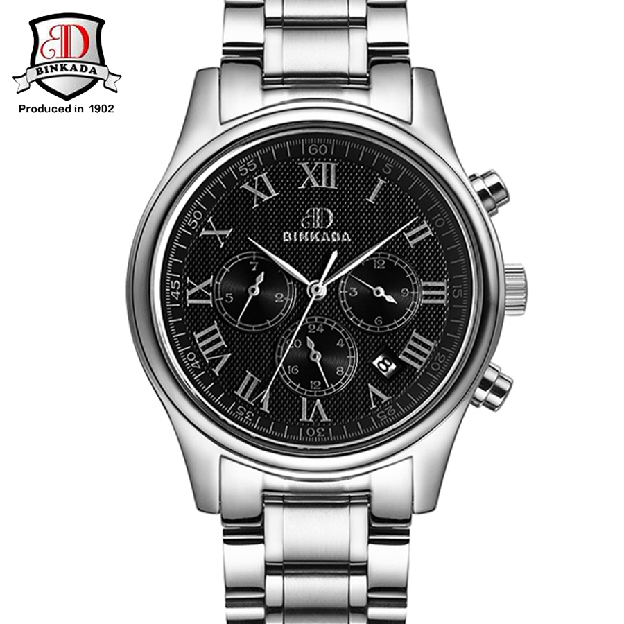 BINKADA Men Black Dial  High Quality Stainless Steel Automatic Mechanical Watches 3 Eyes Mens Fashion Wrist Watch Man Waterproof запонки коюз топаз запонки т13019060