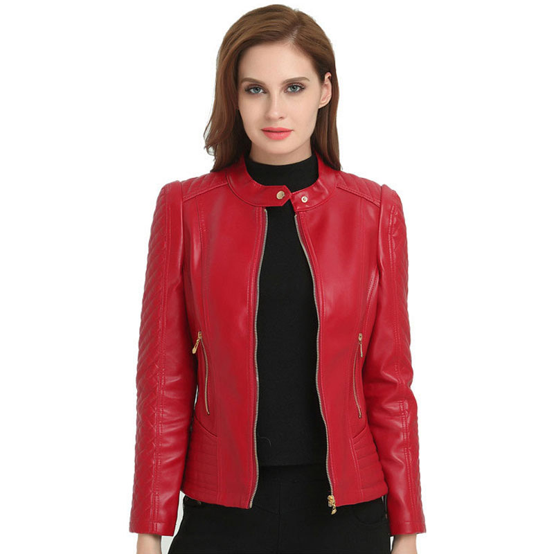 Lusumily Spring New   Leather   Jacket Women Jacket Fashion Pu   Leather   Coat Stand Collar Full Sleeve Slim Shirt Outwear Female Tops