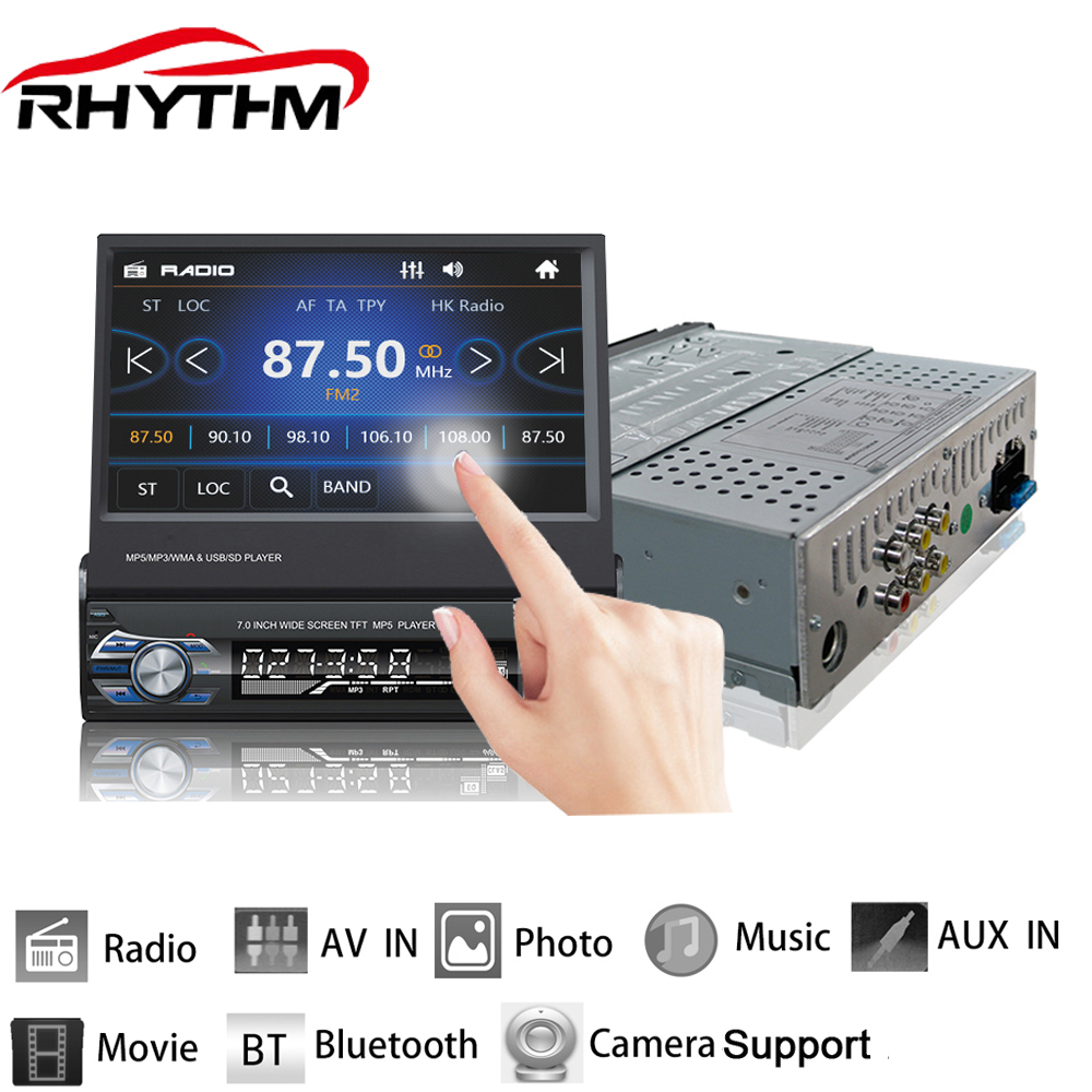 Rhythm 12V Retractable Car Stereo Bluetooth FM Radio MP5 Audio Player Phone USB/TF Radio In-Dash 1 DIN 7 inch 5 languages menu