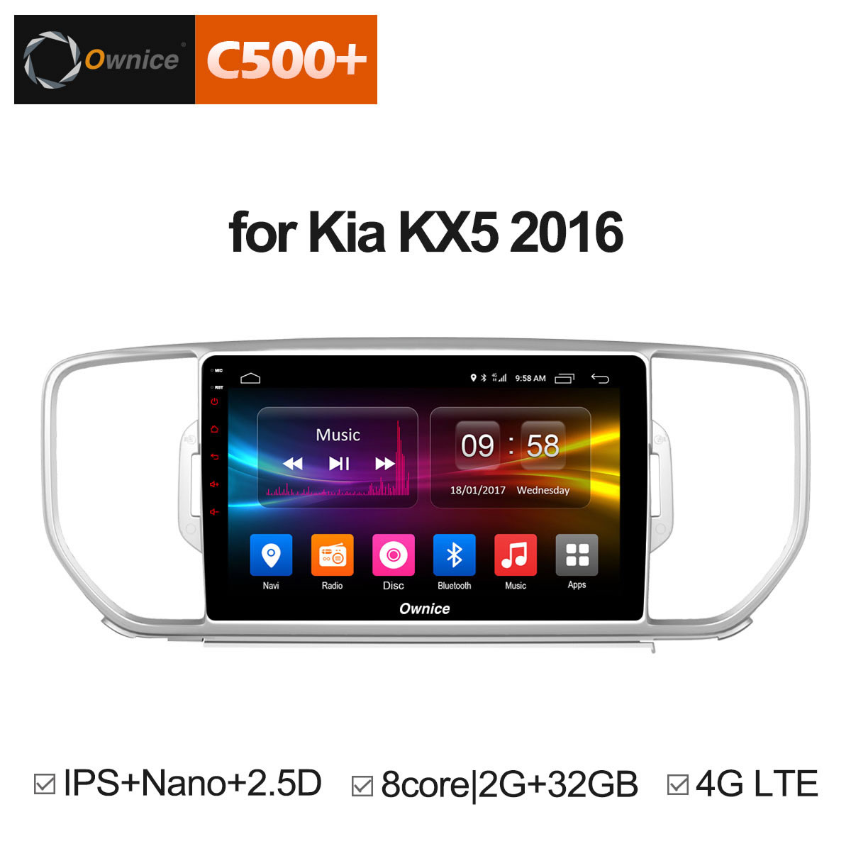 Ownice C500 + KX5 G10 Android 8.1 oito Núcleo Para KIA Sportage 2016 Rádio Do Carro GPS Navi jogador 2 gb RAM gb ROM Suporte 32 4g DVD