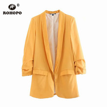 ROHOPO EU Size Women Chic Blazer Draped Cuff Office Ladies Solid Yellow Straight Casual Outwear Baggy Side Pocket Blazers #UZ920