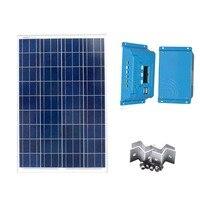 Панно solaire комплект 12 В 100 Вт ШИМ Контроллер заряда 12 В/24 В 10A Z Кронштейн для сада внутренней свет лампы водить автомобиль Батарея camp