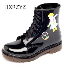 HXRZYZ женщин лодыжки дождь сапоги весна / осень мультфильм кружева сапоги новых моде дамы скользкие водонепроницаемые женщины черные туфли