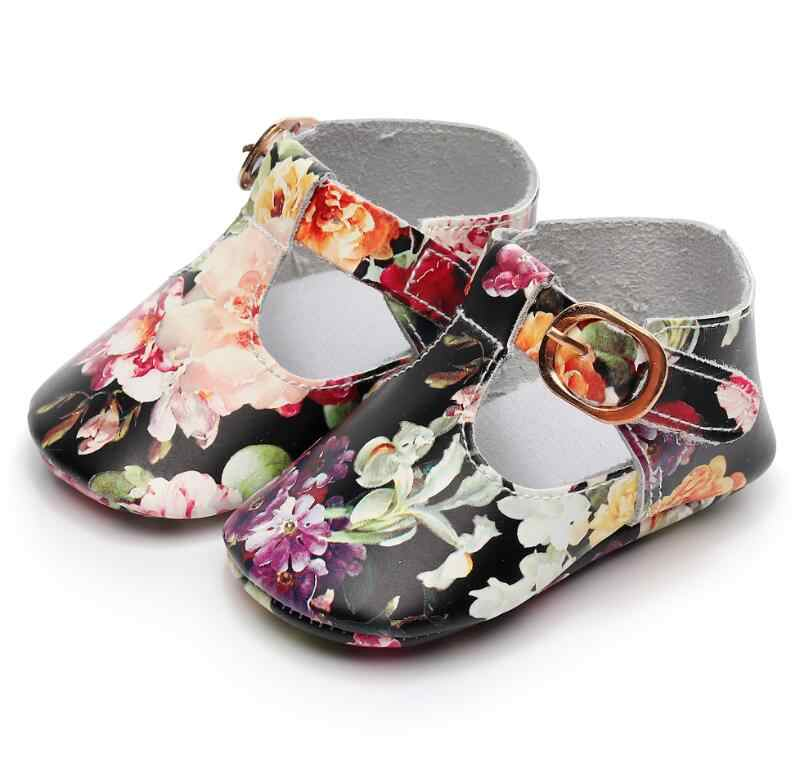 73d7352947f3c Floral style Genuine leather Baby Girls T-bar Mary jane Shoes Infants  Toddler baby moccasins kids Princess Ballet Shoes