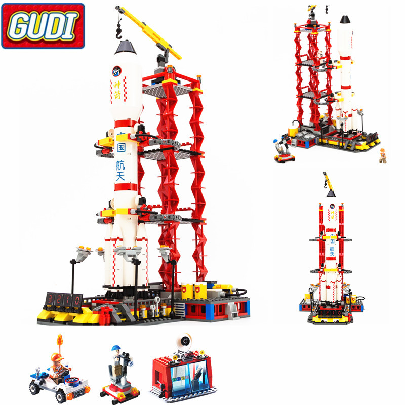 GUDI City Space Center Rocket Space Shuttle Blocks 753pcs Bricks Building Blocks Birthday Gift Educational Toys For Children