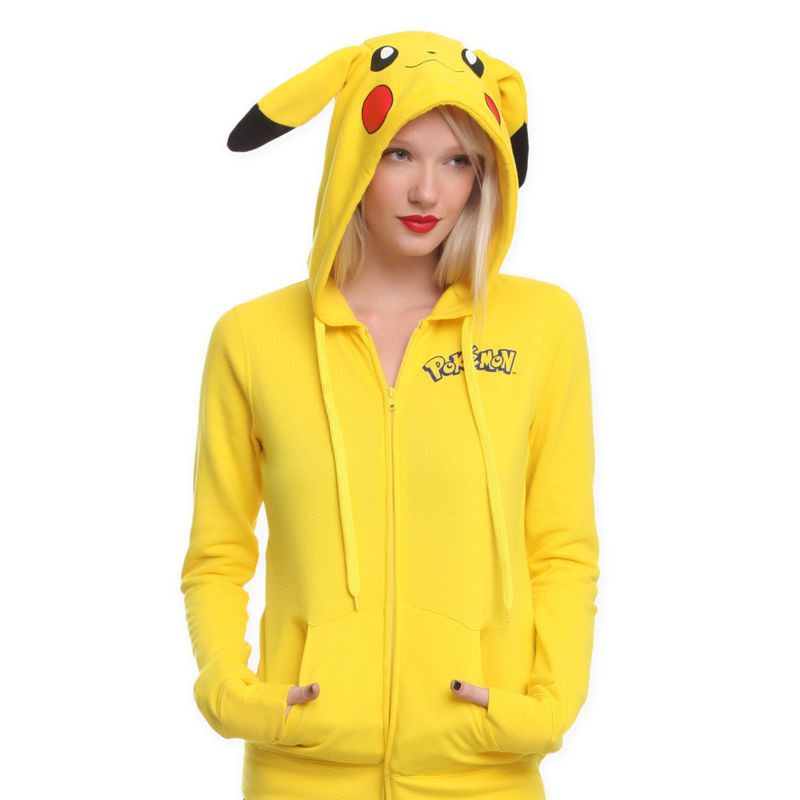 Fashion Women Jacket Yellow Harajuku Solid Pokemon Pikachu Printed Costume Tail Zip Totoro Hoodies Sweatshirt Sudaderas Mujer XS