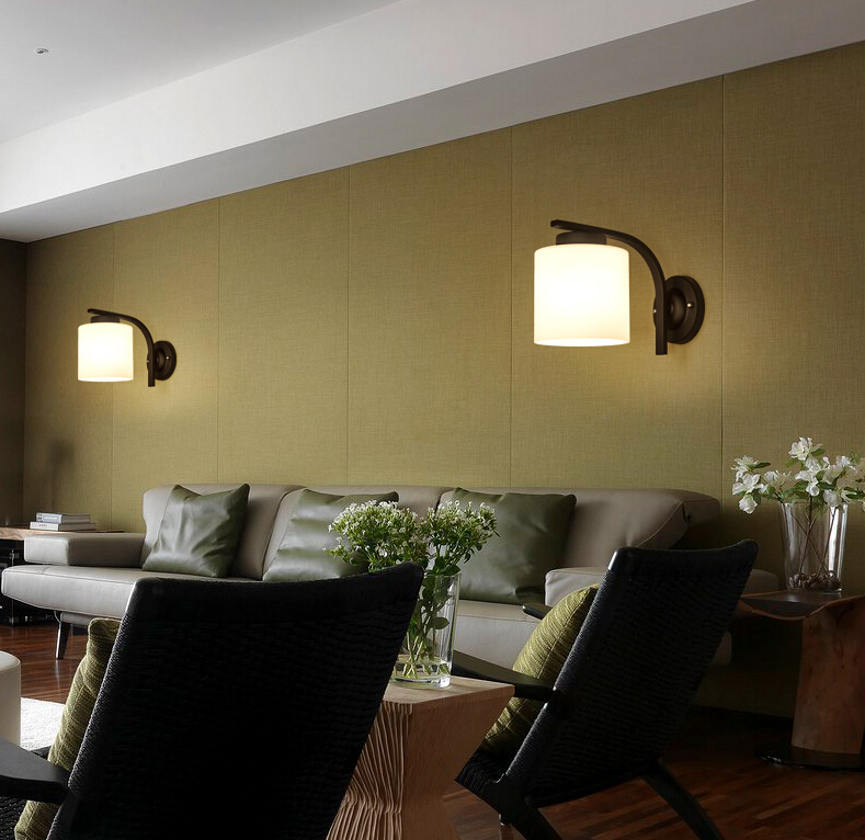 Europa clásico cristal blanco lámparas de pared American rural retro ...