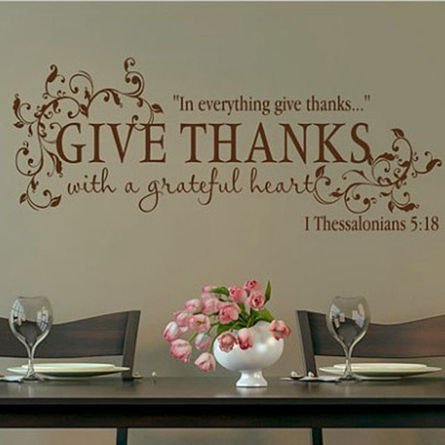 Bible Verse Give Thanks With A Grateful Heart Thanksgiving Wall Quote Vinyl Decal  Stickers, Free