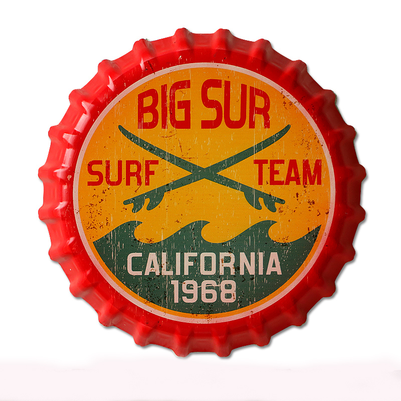 35cm Big Sur Surf Team Vintage Tin Signs Bar Lounge Culb Wall Decor