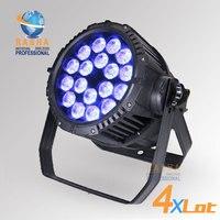 4X Lot Rasha IP65 Waterproof 18pcs*18W 6in1 RGBAW UV LED Par Light Outdoor Alunium LED Par Light For Stage Party Event