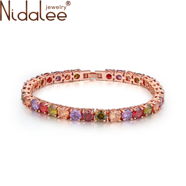 Nidalee 2016 New Design Luxury Top CZ Stone Colorful Bracelet Gold Plated Crystal Bracelets For Women Accessories Jewelry CB337