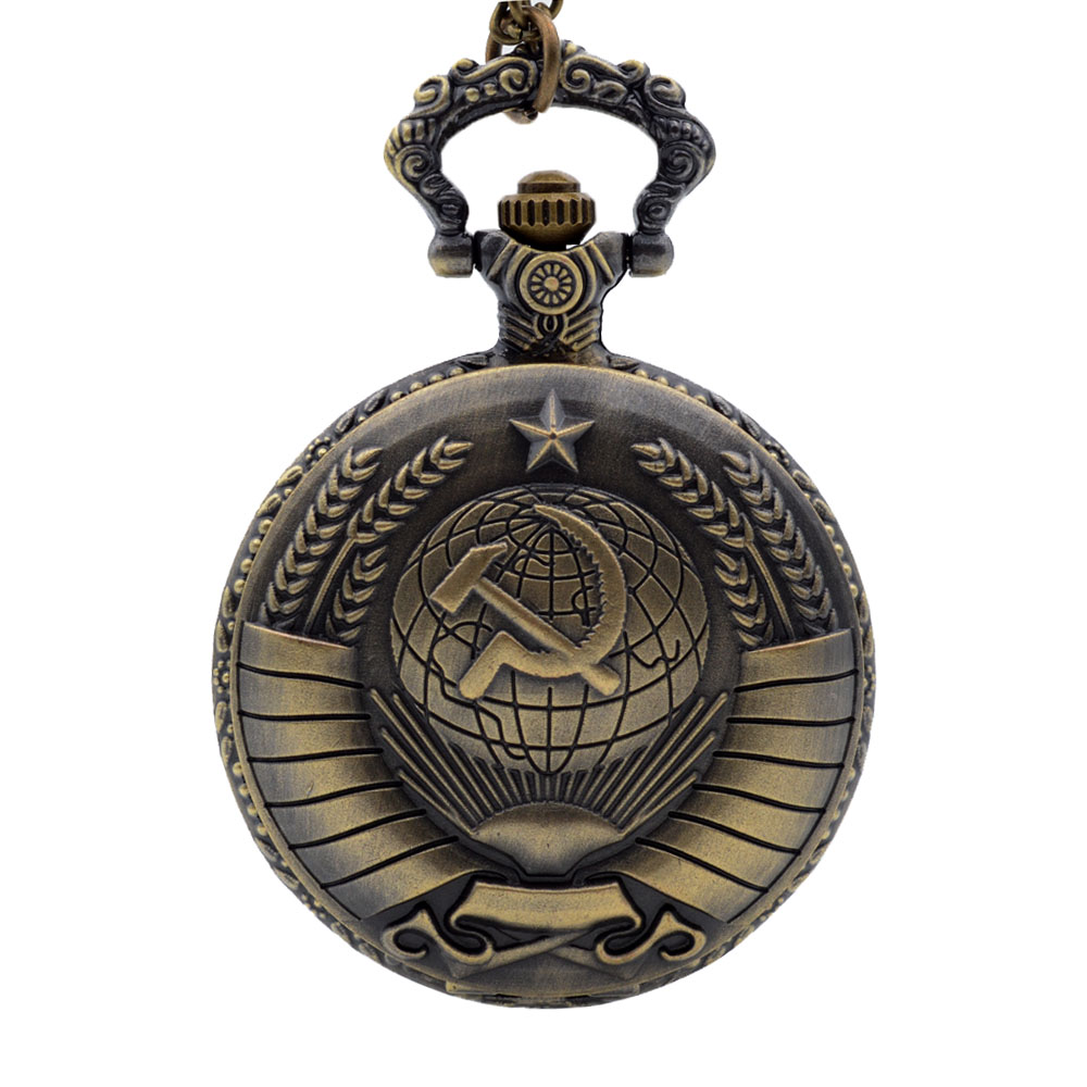 New Soviet USSR Emblem Quartz Pocket Watch Men Women Vintage Dome Pendant Necklace Clock Earth Sickle Hammer Communism design new soviet sickle hammer style quartz pocket watch men women vintage bronze pendant necklace pendant clock with chain