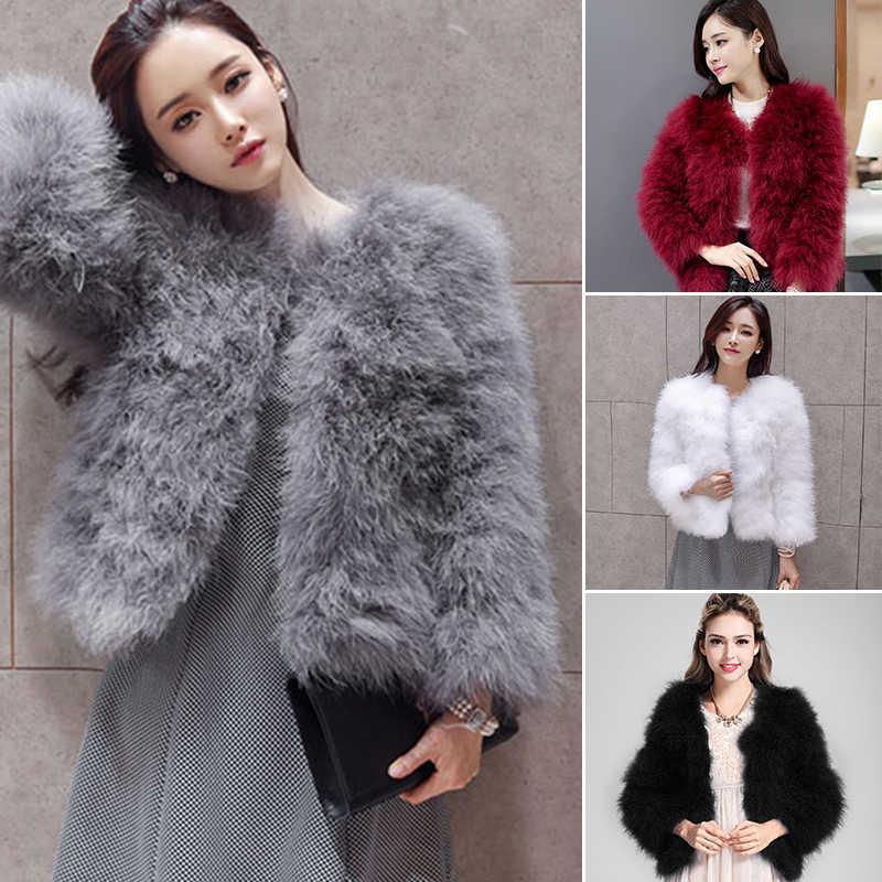 10dfb6fe80d60 2018 Winter Faux Fur Coat Women Warm Hairy Ostrich Fur Jackets Outwear Plus  Size Female Fluffy