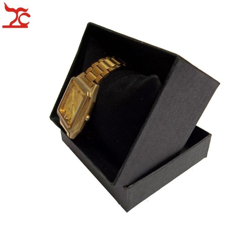 100Pcs kwadrat papieru czarny zegarek pojemnik na pudełko z aksamitna poduszka bransoletka biżuteria wyświetlacz opakowanie 9*8.5*6 cm w Pakowanie i ekspozycja biżuterii od Biżuteria i akcesoria na  Grupa 2