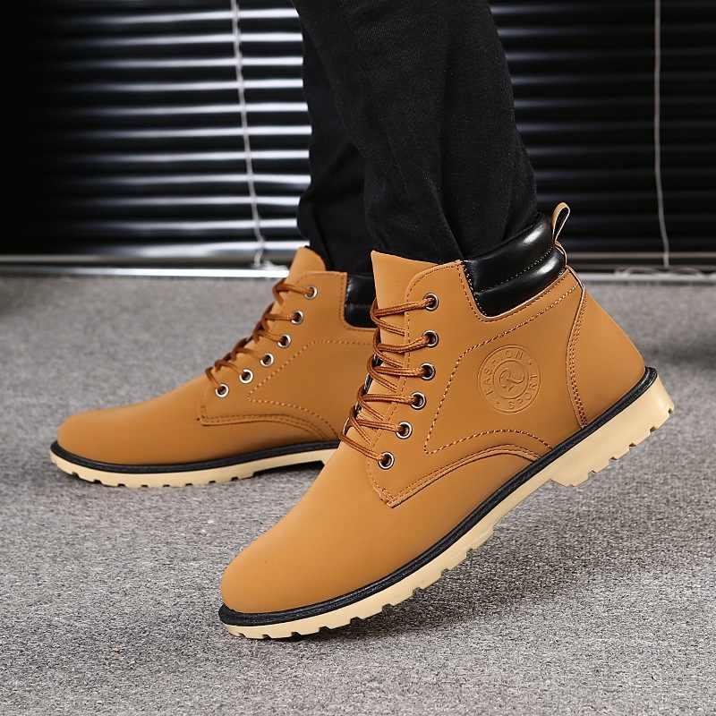 Зимняя обувь мужские ботинки 2018 мужские зимние сапоги зимние ботильоны  для мужчин теплые меховые ботинки Timber 50bb9596fd7