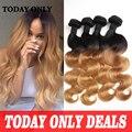 10A Virgin Mink Brazilian Hair Weaving Blonde Ombre Brazilian Hair Weave Bundles 4 Bundles Brazilian Body Wave Virgin Hair 1b/27