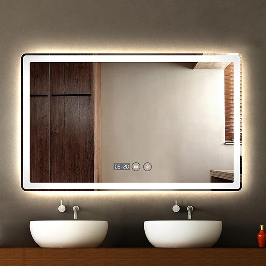 CTL305 Wall-mounted Led Bathroom Mirror Modern Intelligent HD Bath Anti-fog Mirror Explosion-proof 60*80cm 110V/220V 4.8W/M 5MM