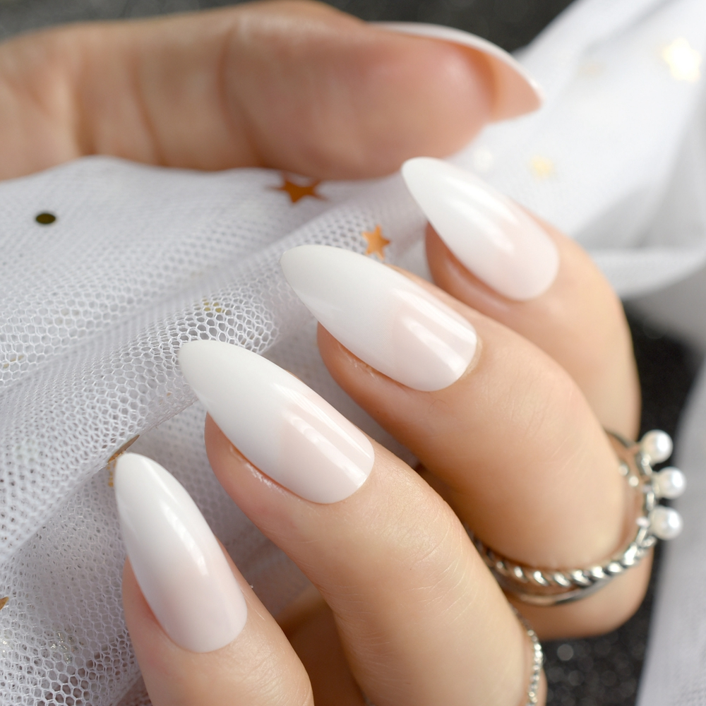 US $2 24 22% OFF|24pcs Gradient Natural White Stiletto French Nail Tips  Pointed Medium Full Cover Artificial Fake Nails for Makeup Manicure Z764-in