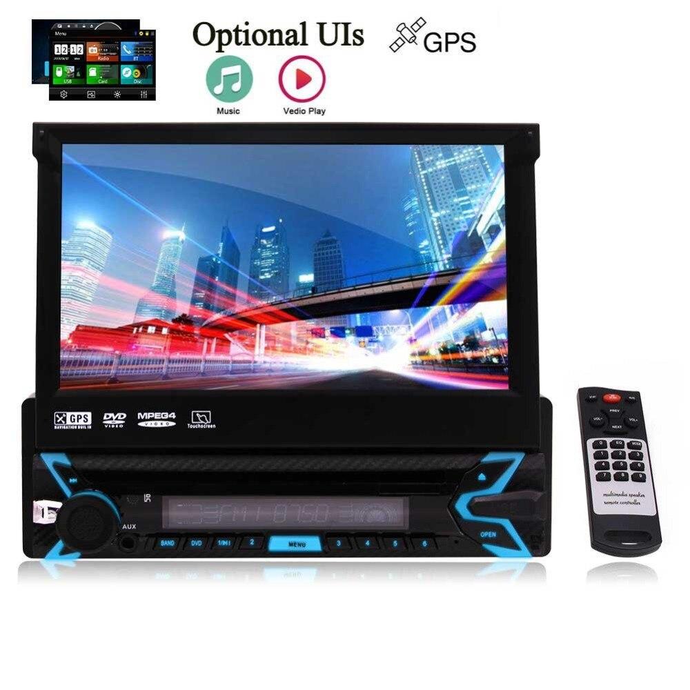 Autoradio stéréo simple Din 7 pouces écran tactile capacitif DVD/CD/MP3/USB/SD FM/AM/RDS Radio récepteur télécommande sans fil Bl