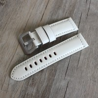24MM white watch leather strap,Genuine leather watch band strap For Pam111 Military Watch Big Pilot Watch Leisure gentry style