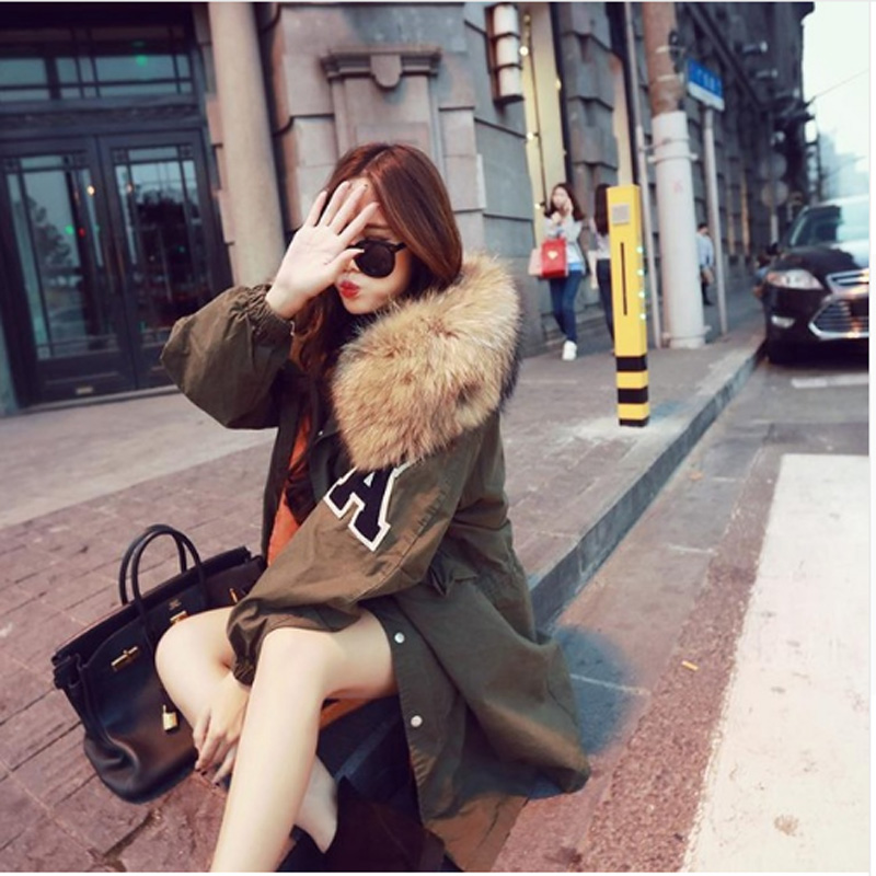 2017 Women Winter Fashion Plus Size Army Green Letter A Print Thick Coats Female Big Real Fur Hooded  Zip Parkas Outwear Brand plus size letter print hooded sweatshirt dress