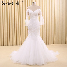 Mermaid Half Sleeves Tulle Fashion Wedding Dresses Real Photo Elegant Simple Sexy Bridal Gowns Robe De Mariee 2017