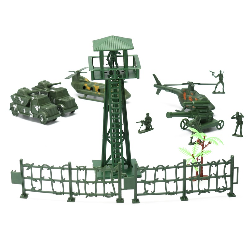 New Watchtower Military Fence Tree Soldier Playset font b Toy b font Army Men Accessory For