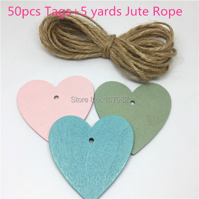 50pcs 48x50mm Mix Wood Heart Tags Pendants Embellishments with 5yards Jute Rope Rustic Wedding for Wishing Christmas Tree Deco