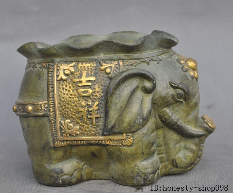 Crafts statue Old Chinese Bronze Gilt Auspicious Animal Elephant Lucky Brush Pot Pencil VaseCrafts statue Old Chinese Bronze Gilt Auspicious Animal Elephant Lucky Brush Pot Pencil Vase