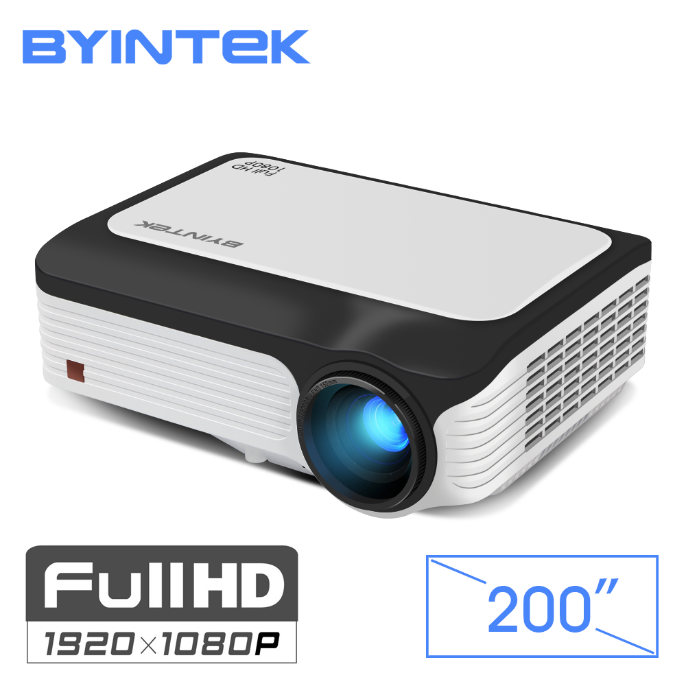 BYINTEK MOON M1080 FULL HD 1080 P портативный светодиодный Светодиодный Мини проектор 1920x1080 ЖК дисплей 200 дюймов кабель светодиода для игра для домашнего ...