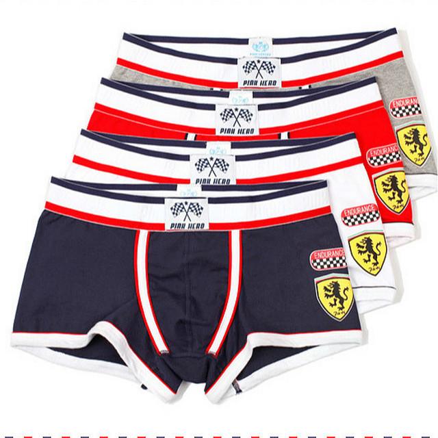 PINK HEROES Boxers roupa interior dos homens cartoon Male mens Underwear sexy boxershorts men Cotton Boxer shorts