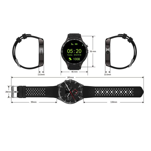 KW88 Smart Watch for Android 5.1 OS - Black Tarnish/Black Gold 5