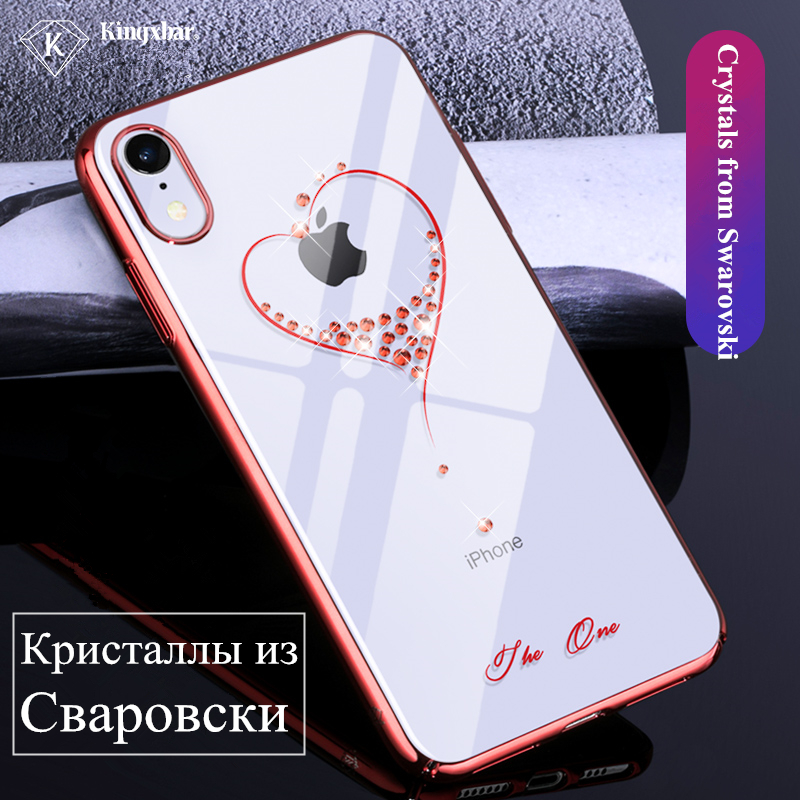 competitive price a3f48 58fd3 US $23.32 |KINGXBAR for iPhone XR Case X Xs Max Crystal from Swarovski for  iPhone Xs Max Case Diamond for iPhone XR Cover Hard Transparent -in ...