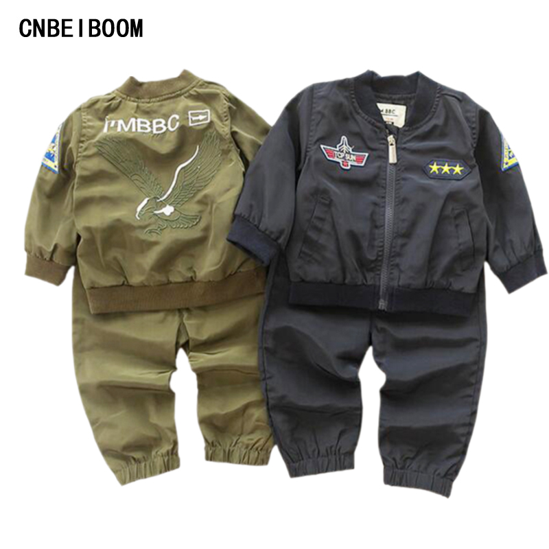2016 New Autumn Kids Boy Tracksuit Clothing Set Sports Suit Infant 6M-4T Embroidered Eagle Soccer Jersey Boys Military Uniform