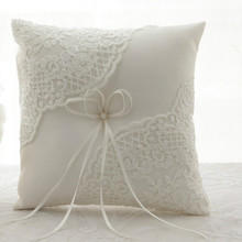 Satin and Lace Wedding Ring Pillow Cushion Embroider Flower with Bow ,8 Inch (21cmx 21cm) Bearer for Beach Wedding,