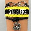 Amor infinito Charm Bracelet NFL Steelers Football Team Sports Presente Da Jóia preta amarelo Esporte pulseira Pulseiras da amizade
