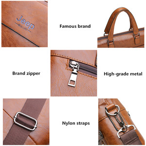"""Image 3 - JEEPBULUO Mens Briefcase Fashion Handbags For Man Sacoche Homme Marque Male leather Bag For A4 Documents 13"""" Laptop 6015"""