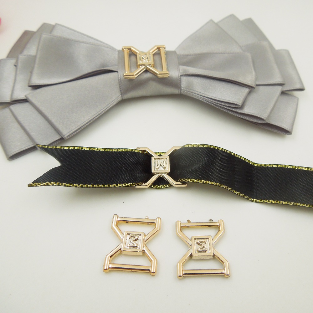 18/16mm,Hole Size 12mm,30pcs W uv plated rose gold no fade ribbon buckles acessories Ribbon Slider Headband Hair Clip DIY