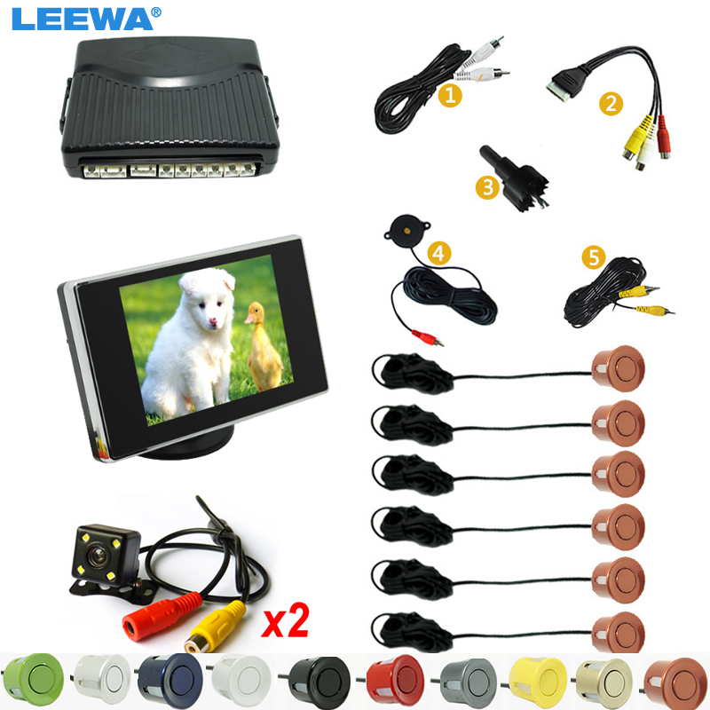 LEEWA 3 in 1 Car 6 Sensors Front&Rear Dual View Parking Sensor Rear View System + 3.5 Monitor + CCD Camera   #CA4447 car parking sensors rear view camera 2 in 1 visual bibi alarm parking system for kia carens ceed rondo
