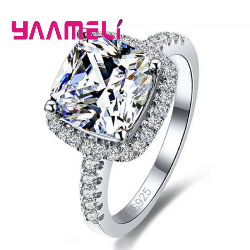 Big Promotion Shining 925 Sterling Silver Wedding Rings For Women