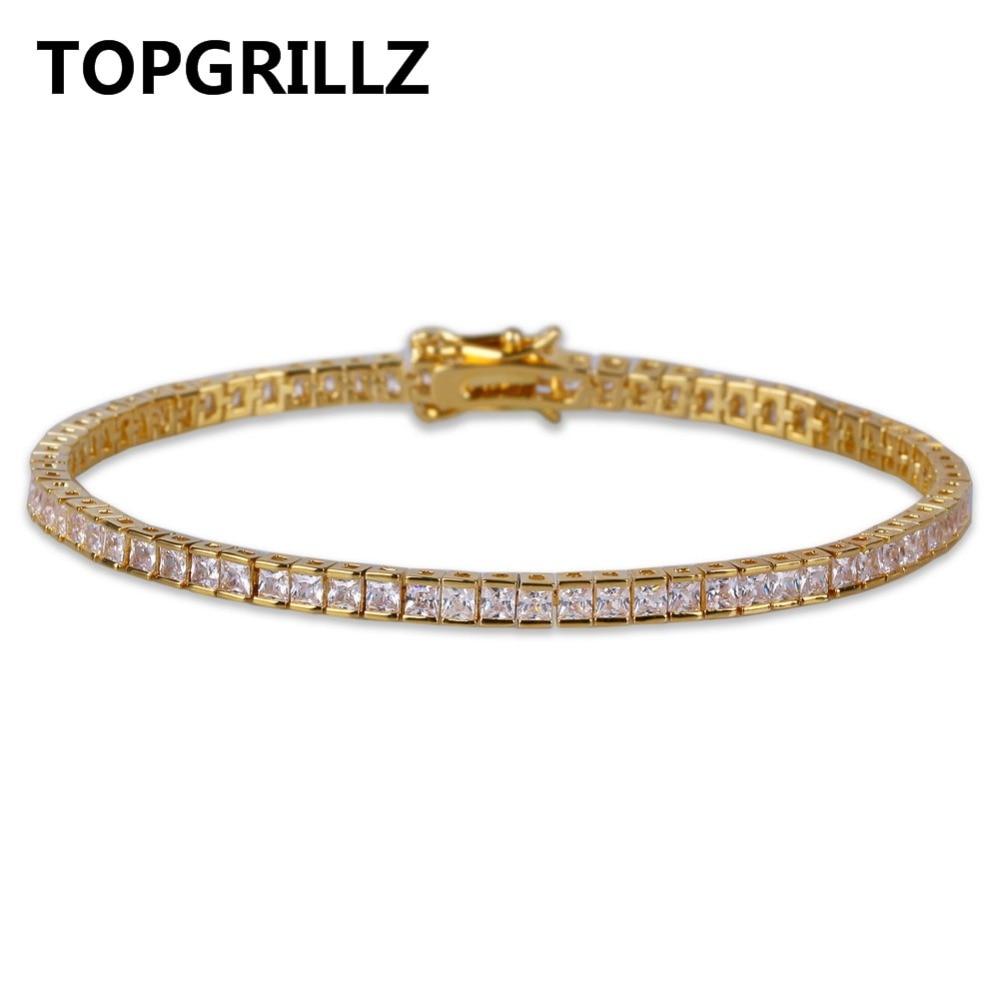 TOPGRILLZ Gold & Silber Hip Hop Tennis Armband Mikro Pflastern CZ Stein Box Kette Alle Iced Out 1 Reihe Armbänder Für Männer und frauen
