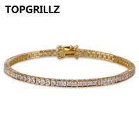 TOPGRILLZ Gold Silver Hip Hop Tennis Chain Bracelet Micro Pave CZ Stone Box Chain All Iced