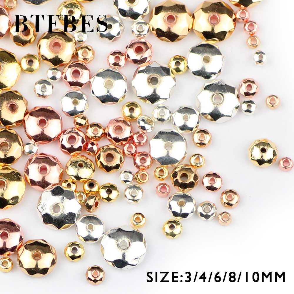 BTFBES Faceted Flat Round Hematite beads 3/4/6/8/10mm plating Rose Gold,Silver Loose Spacer Spacer Jewelry bracelets Making DIY