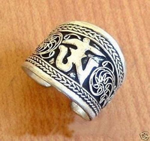 Hot sale new Style >>>>Nepal/Tibetan Tibet Silver One Word Mantra Thumb Ring