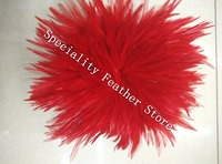 Free Shipping 900pcs redc Rooster Hackle Feather Strung 12 15cm 5 6 rooster feather Trimming Rolls DIY accessory/costume Deco