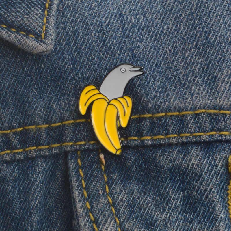 Брошь с изображением дельфина банана, эмаль, брошь с животными, джинсовая одежда, сумка, шляпа, Нагрудный значок на булавке, Мультяшные забавные украшения для друзей